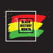 Black History Month Colorful Emblem Banner Design Element On Black Background poster
