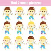 Children Educational Game. Find The Same Pictures. Find Two Identical Cupid Boys. St Valentines Day  poster