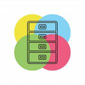 Cabinet Archive Icon - Vector File Drawer - Office Storage - Business Business. Thin Line Pictogram  poster