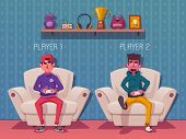 Friends Is Gaming. Gamers Playing Video Game. Cartoon Vector Illustration poster