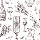 Sketch Wine Seamless Pattern. Wine Bottles Wineglass Corkscrew And Grape. Winery, Restaurant Vector  poster
