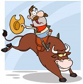 foto of bull-riding  - Happy Cowboy Riding Bull In Rodeo Cartoon Character - JPG