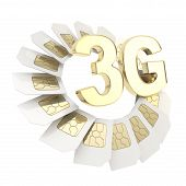 foto of micro-sim  - 3G golden emblem surrounded with circuit microchip SIM cardS isolated on white background - JPG