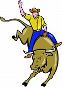 foto of bull-riding  - Illustration of rodeo cowboy riding bucking bull on isolated white background done in cartoon style - JPG