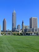 picture of bp  - Downtown Cleveland skyline with park in the foreground - JPG