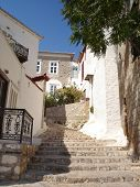 pic of hydra  - Stairway of Hydra street run up to the hill - JPG