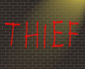 picture of shoplifting  - Illustration depicting graffiti on a brick wall with a thief concept - JPG