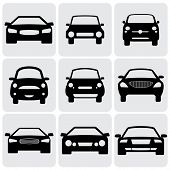 Compact And Luxury Passenger Car  Icons(signs) Front View- Vector Graphic
