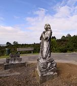 stock photo of cherubim  - image of a cemetery with sky in the background - JPG
