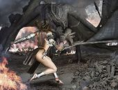 foto of fire-breathing  - Female sexy warrior engaged with an ancient winged fire breathing dragon - JPG