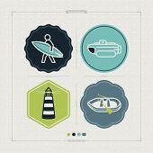 stock photo of pontoon boat  - 4 vector icons related to ships boats and other objects/symbols in relation to boat swimming pictured here from left to right top to bottom: 