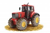 picture of truck farm  - Red generic tractor positioned on a field with a white background - JPG