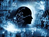 stock photo of homo  - Artistic background made of human feature lines and symbolic elements for use with projects on human mind consciousness imagination science and creativity - JPG