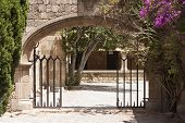 picture of filerimos  - Yard in the Monastery of Our Lady of Filerimos mountain of Rhodes Greece photo - JPG