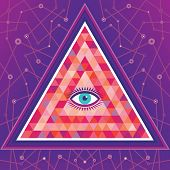 Geometric Vector Background - Abstract Pyramid Structure with Eye of God.