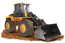 picture of power-shovel  - Generic construction bulldozer loader excavator construction machinery equipment positioned on dirt with a white background - JPG