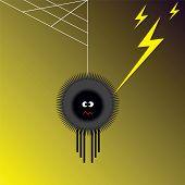 stock photo of lightning bugs  - Vector illustration of spider shocked by lightning - JPG