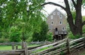pic of water-mill  - Photo of old water wheel mill building in village, Ontario, Canada