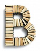image of letter b  - Letter B formed from the page ends of closed vintage hardcover books standing on a white background from a set or series of numbers - JPG