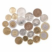 foto of iranian  - Arrangements of Iranian coins on the white background - JPG