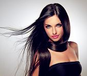 image of flowing hair  - Model with flying hair and trendy makeup - JPG
