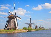 pic of windmills  - Ancient windmills near Kinderdijk - JPG