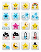 picture of manga  - Funny Manga cartoon weather buttons set isolated on white - JPG