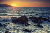 pic of atlantic ocean  - Sunset on the Atlantic ocean coast in Morocco Tangier - JPG