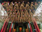 stock photo of cho-cho  - Spiral incense of Thien Hau Temple - JPG