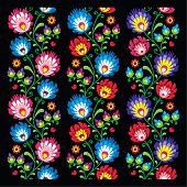 Постер, плакат: Seamless long Polish folk art pattern wzory lowickie wycinanka