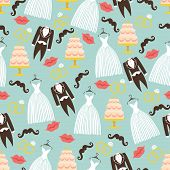image of wedding feast  - Vintage wedding symbols in seamless pattern set - JPG