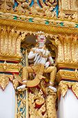 stock photo of hanuman  - Hanuman sculpture at Thai temple in Bangkok Thailand - JPG