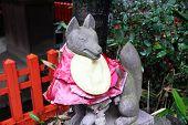 picture of inari  - Fox statue at inari shrine in Kamakura - JPG