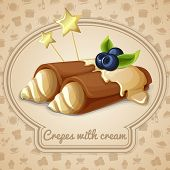 stock photo of crepes  - Crepes with cream dessert bakery emblem and food cooking icons on background vector illustration - JPG