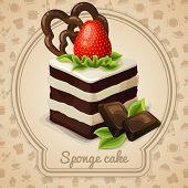 image of sponge-cake  - Sponge cake dessert with strawberry label and food cooking icons on background vector illustration - JPG