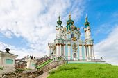 stock photo of church  - Saint Andrew orthodox church is a major Baroque church in Kyiv Ukraine - JPG