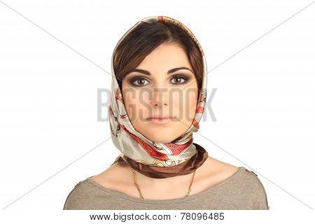 beautiful woman in a scarf