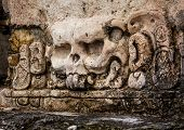picture of mayan  - Mayan traditional carvings skull in Yucatan Mexico - JPG