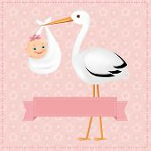 image of stork  - Poster Stork With Baby Girl With Gradient Mesh - JPG