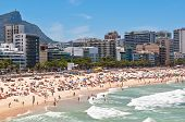 picture of ipanema  - Crowded Ipanema and Leblon Beaches on Clear Sunny Summer Day - JPG