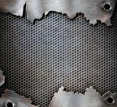 image of bullet  - grunge metal background with bullet holes - JPG