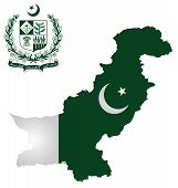 picture of pakistani flag  - Flag and national emblem of the Islamic Republic of Pakistan overlaid on outline map isolated on white background text translation Faith Unity Discipline - JPG
