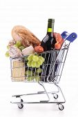 pic of grocery cart  - shopping cart with grocery - JPG