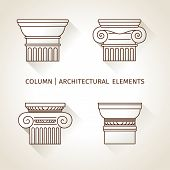 stock photo of ionic  - linear icons Columns - JPG