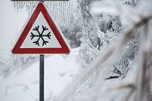 image of sleet  - Traffic sign for icy road with sleet covered trees - JPG