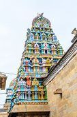 stock photo of tamil  - exquisite colorful sculpture on tower Jambkeshwara Temple Tiruchirapalli Tamil Nadu India Asia - JPG