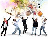 picture of bongo  - Musicians select their instruments in the air - JPG