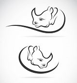 stock photo of rhino  - Vector image of an rhino design on white background - JPG