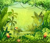 image of southern  - llustration with vector flowers and jungle toucan - JPG