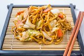 stock photo of lo mein  - Yakisoba Japanese food on a white background - JPG